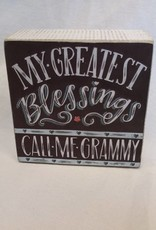 """Greatest Blessings...Grammy Chalk Sign, 4""""x4""""x1.75"""""""