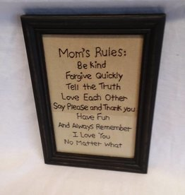 "Mom's Rules Stitchery, 7.5""x10.5"""