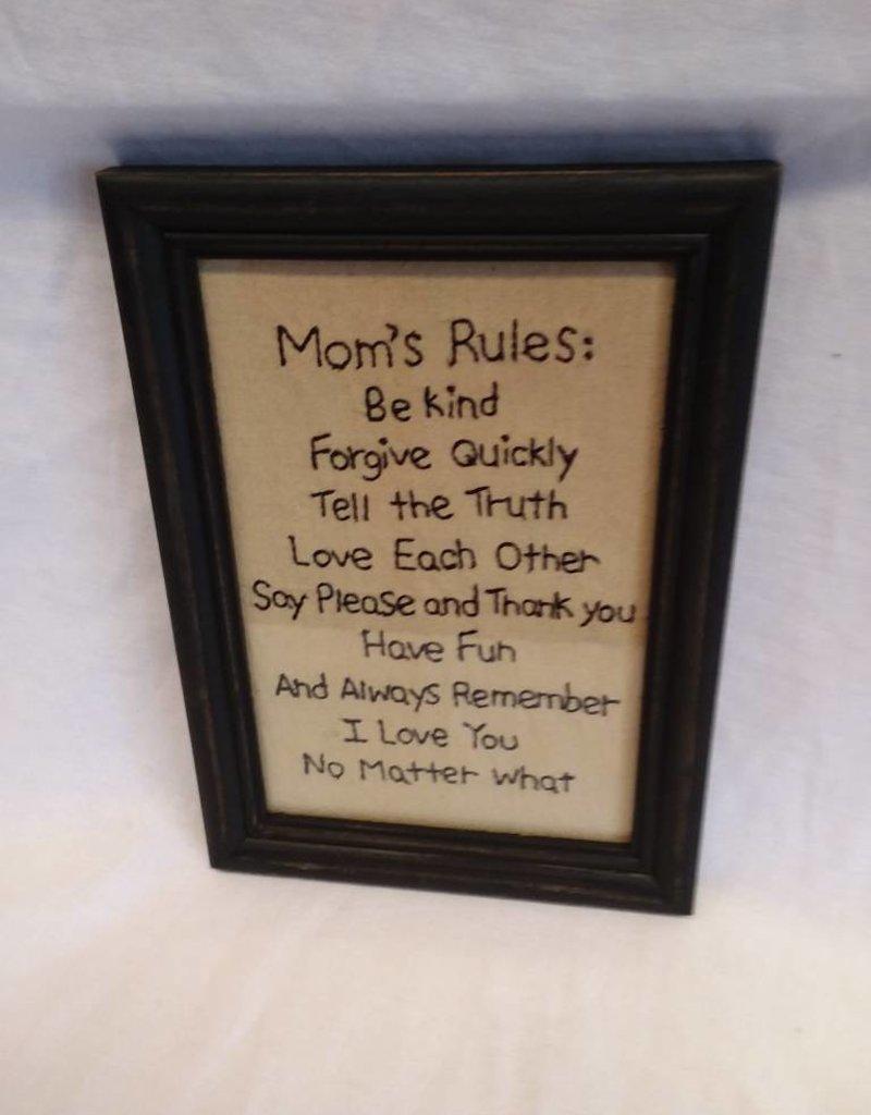 "Mom's Rules Stitchery, 7.5""x10.5"""