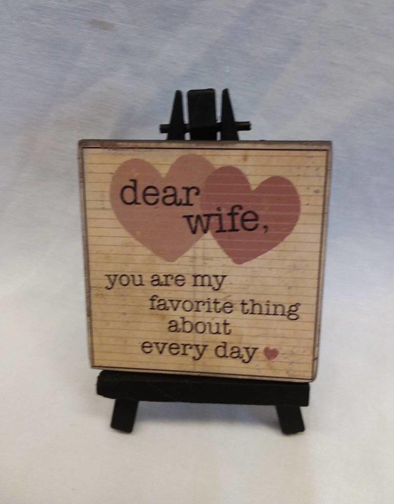 Dear Wife Mini Easel Art