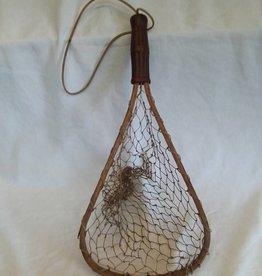 "Stream Fishing Net w/Red Rubber Grip, 20""x9"", 1940's"