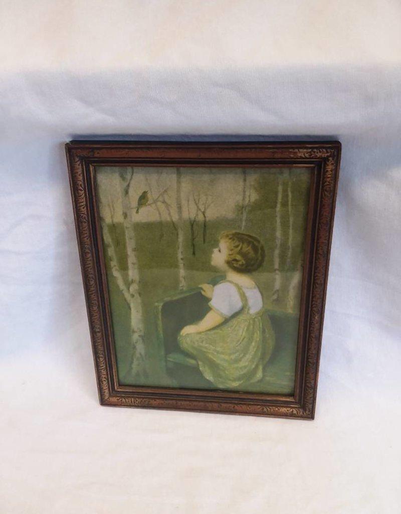 "Framed Girl on Bench w/Bluebird, 8.25""x10.25"", M.1920's"