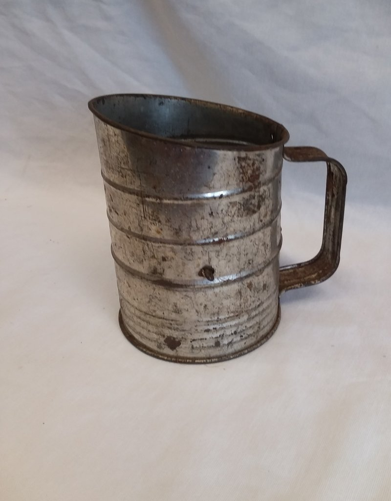 Crank Sifter w/Green Knob, 3 Cup, 1940's