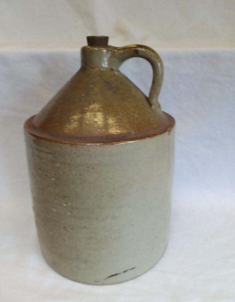 2 Gallon Unmarked Stoneware Jug w/Cork, E.1900's
