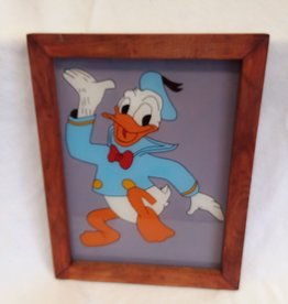 "Donald Duck in Frame, Hand Painted, 13.5x10.5"", c.1970"