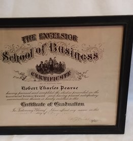 Excelsior School of Business Utica, Framed Certificate, 1941,