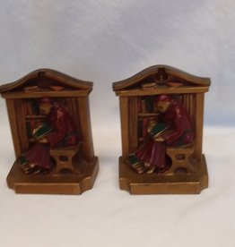 Monk Cast Metal Bookends, 1920's