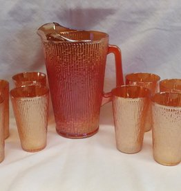 Jeannette Glass Co. Tree Bark Variant Marigold Carnival 9-piece Beverage Set, 1950's, Orig'l Box