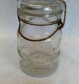 Putnam, Lightning Trademark Clear Glass Canning Jar, 1 Pint, M.1900's