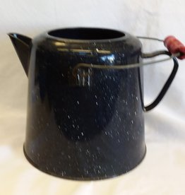 Blue Speckled Enamelware Coffee Pot, No Lid, E.1900's