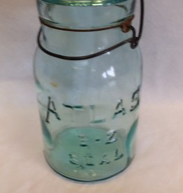 Atlas E-Z Seal Aqua Canning Jar, Quart, 1930's