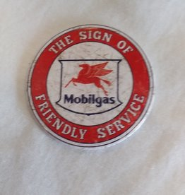 "Round Mobilgas Service Magnet, 3"""