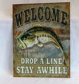 "Welcome Drop A Line Stay Awhile Sign, 12.5""x16"""