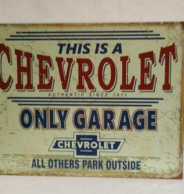 "Chevrolet Only Garage Sign, 16""x12.5"""