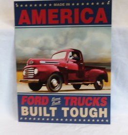 "Made In America-Ford Trucks Reproduction Sign, 12.5""x16"""