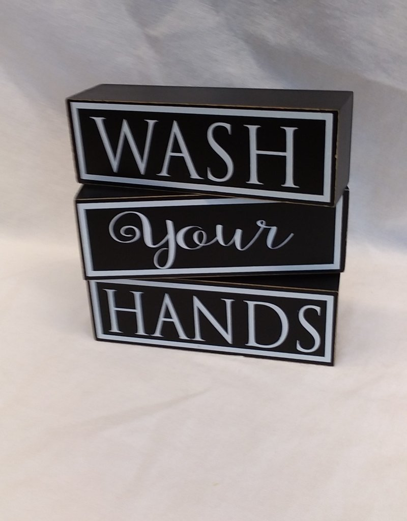 Wash Your Hands, 3 Tiered Sign, 6x6x1.5""