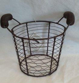 Round Mesh Metal Basket W/ Handles