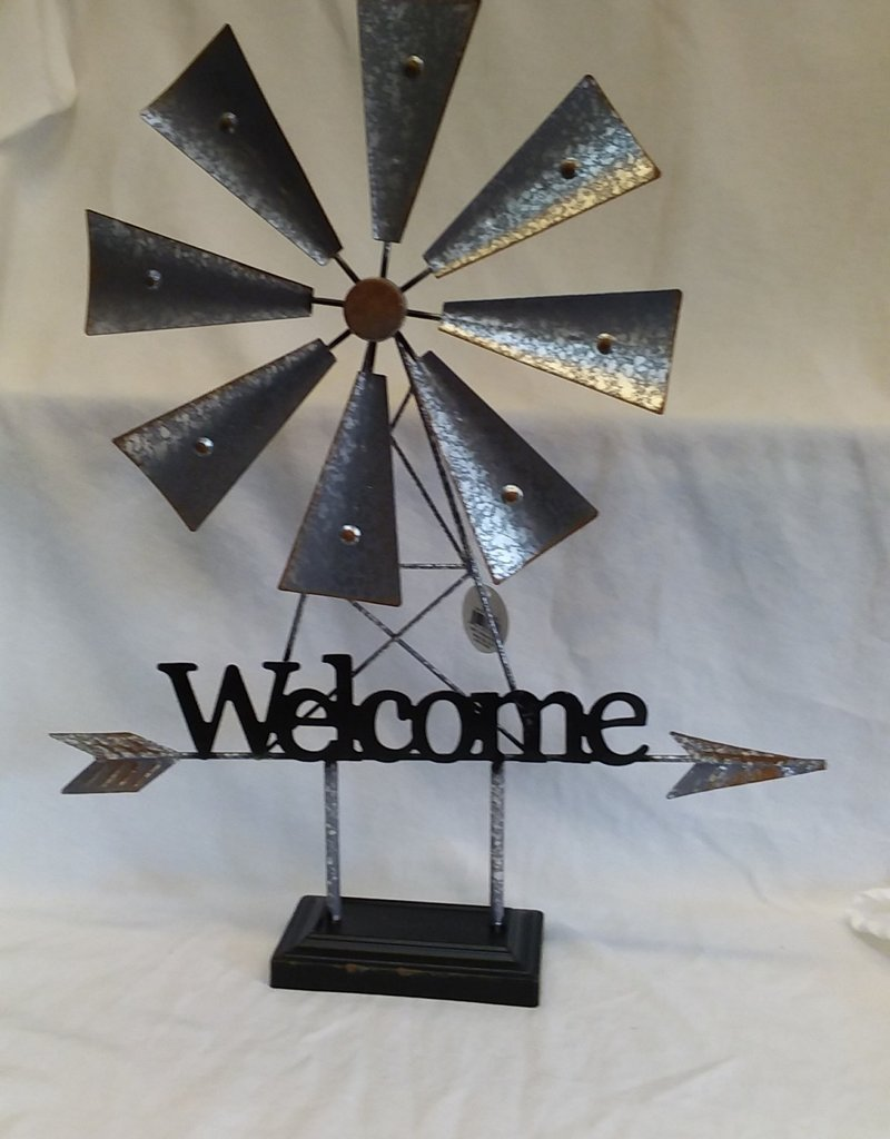 Metal Welcome Windmill on Stand