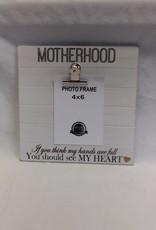 "Motherhood Sign w/Photo Clip, 9.5""x9.5"""