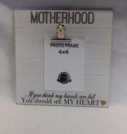 "Motherhood Sign w/Photo Clip, 9.5""x9.5"""