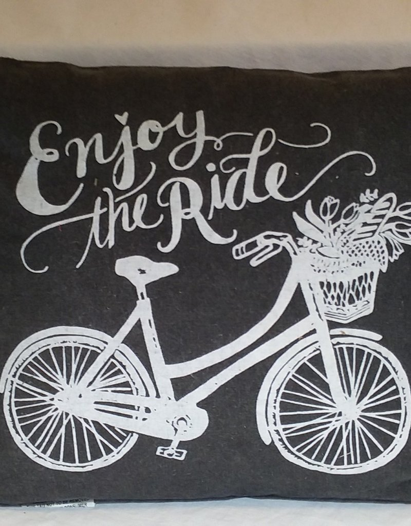 "Enjoy The Ride Pillow, 14""x13"""