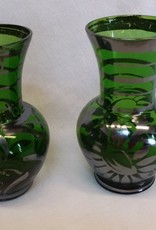 Pair of Green Vases w/Applied Silver Design, c.1950