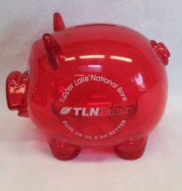 "Red TLN Bank, Plastic Advertising, 5.5"", c.1990"