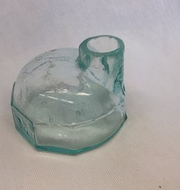 "Igloo Shaped Aqua Ink Bottle, 2"", E.1900's"