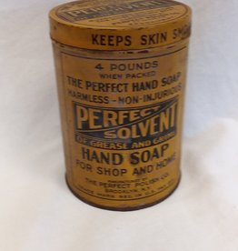 Perfect Solvent Hand Soap Tin, Empty, 4 Pound, 1920's