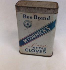"McCormick's Cloves Tin, c.1940's, 2.25x1x3.5"""