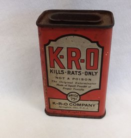 "Rare K-R-O Tin ""Kills Rats Only, 2.25x1.5x3.5"", c.1940's"