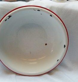 "Vintage Enamelware Bowl, White & Red Lip, Wash Basin c.1950, 12"""