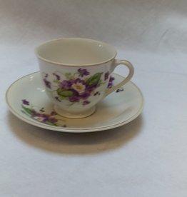 Mini Cup & Saucer Set w/Purple Pansies