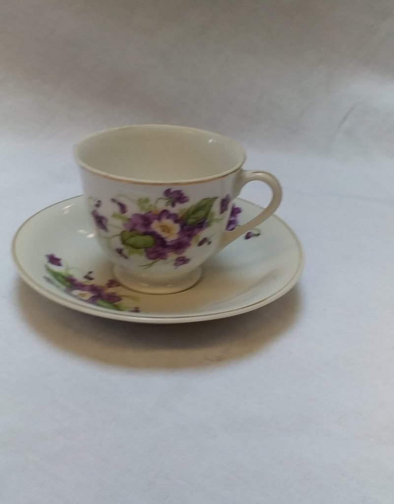 Mini Cup & Saucer Set w/Purple Pansies
