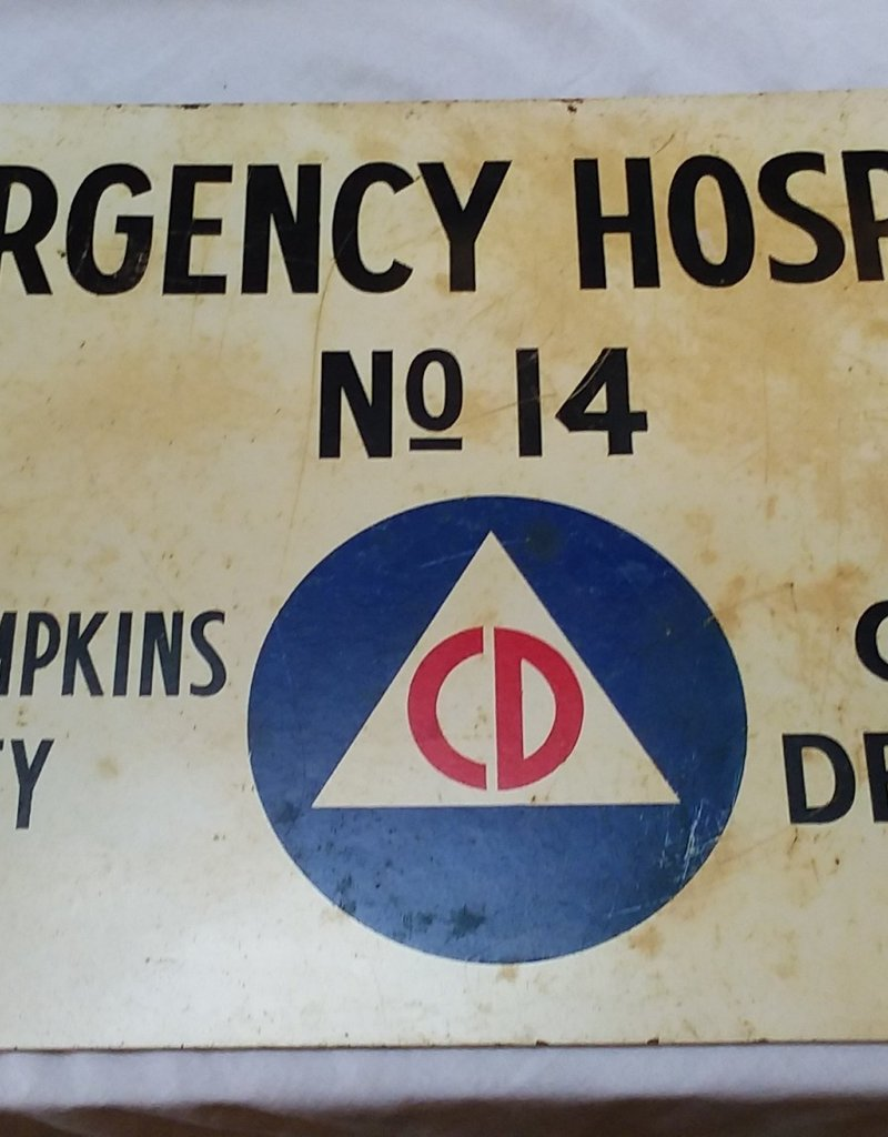 "Authentic Civil Defense Emergency Hospital Sign, Ithaca, c.1950, 30""x18"""