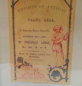 Knights of Pythias 1883 Framed Grand Ball Flyer Junction House, Freeville, NY