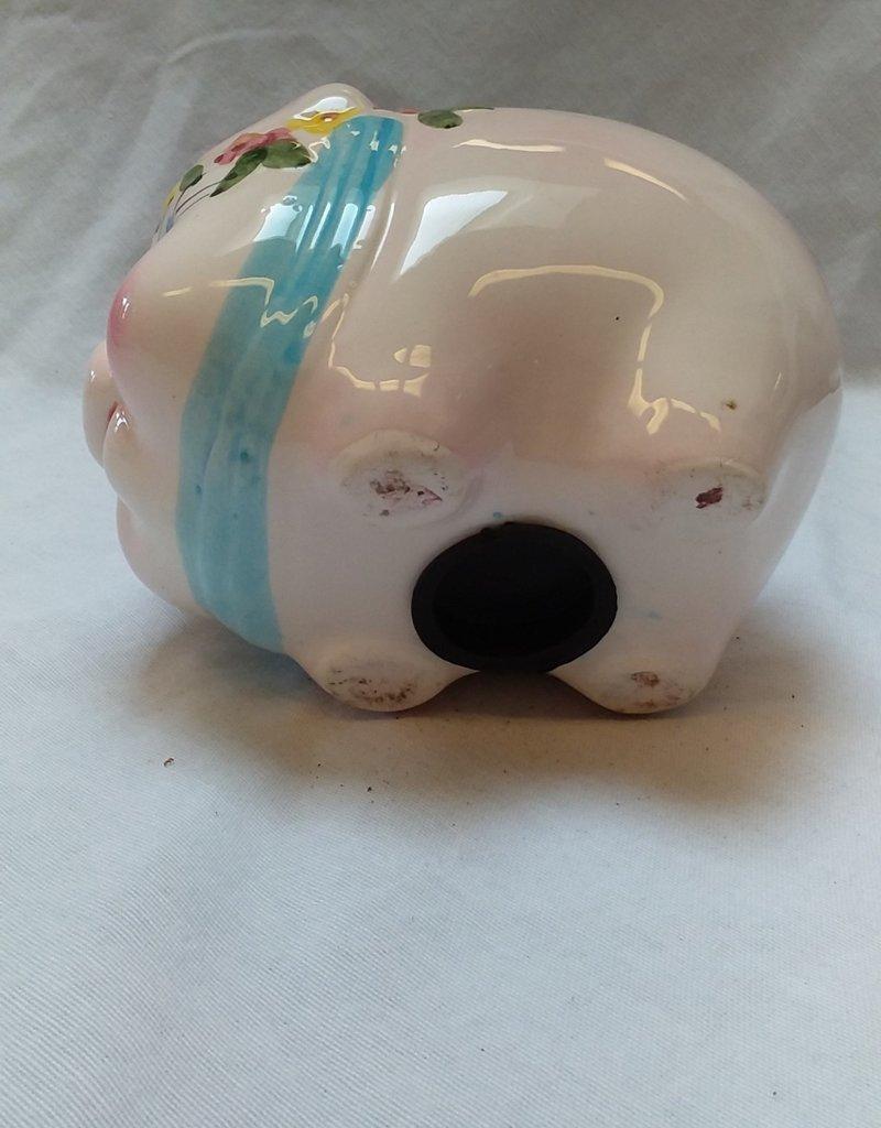 Ceramic Piggy Bank w/ Stopper (for Little Girl), 1990's