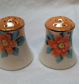 Noritake S&P Shakers, Handpainted Floral, Green M Mark, Japan, 1950's,Corks