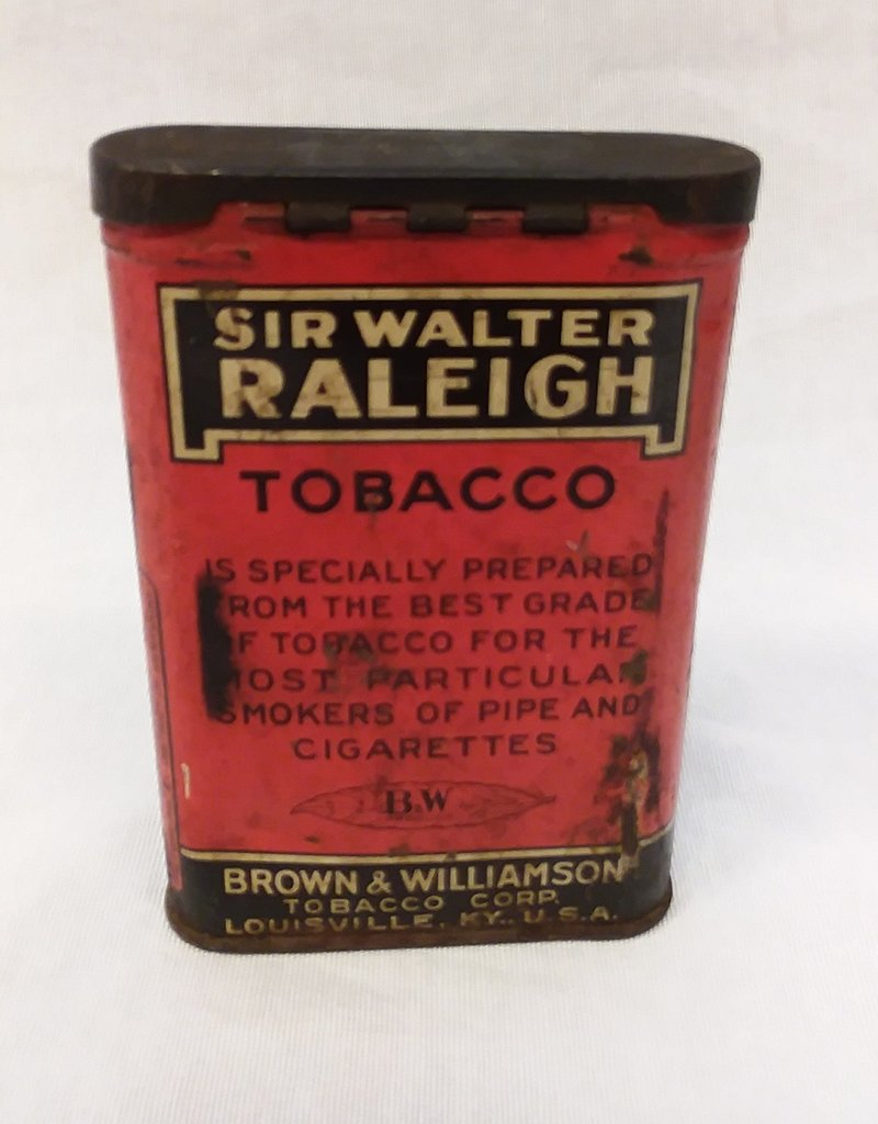"Sir Walter Raleigh Tobacco Tin, 4.5"", c.1950"