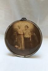 """2 Women in Round Frame, 6"""", 1930's"""