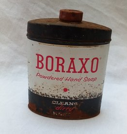 Boraxo Powdered Hand Soap Tin, Partly Full, 8 oz. c. 1950