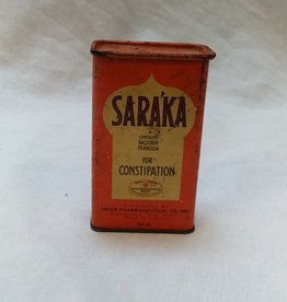 Saraka Constpation Tin 3.5 oz., 1930's.