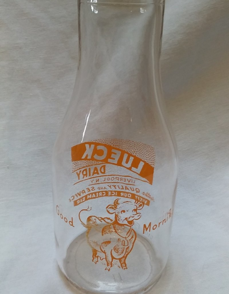 Lueck Dairy Milk Bottle, Pint, 1964