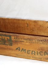 """Kraft 5 Lb Cheese Box w/Knob, 12""""x4""""x4"""", c.1950"""