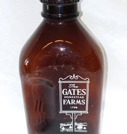 Gates Farms Amber Milk Bottle, 1/2 Gal., 1960's