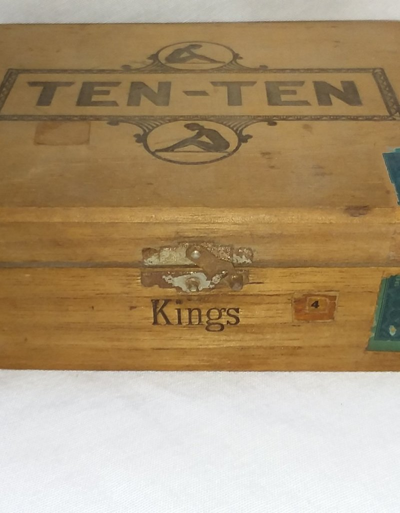 "Ten-Ten Kings Wooden Cigar Box, 8""x 7""x 2.5"", c.1960"