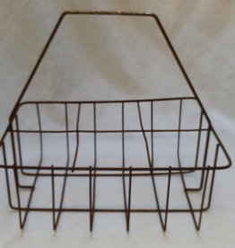 "6 Bottle wire carrier, rusty, 11""x 7.5""x 10.5"", c.1950"