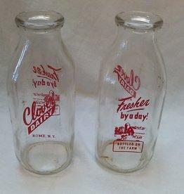 Clover Dairy Pyro Milk Bottle, Quart, 1960's