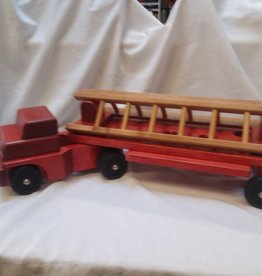 Wooden Red Ladder Truck, 29'' Long, Com. Playthings, c. 1970's
