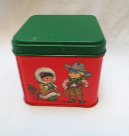 "Red & Green Tin  w/Children, 3.5""x3.5""x3.25"", c.2000"